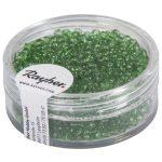 Kásagyöngy, 2 mm átm.,áttetsző, zöld, 17 g