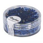 Ezüstközepű üveg szalmagyöngy 7/2 mm, söt.kék, 15 g