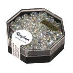 Magatama gyöngy,transzp.lüszteres,szivárvány, holdkő, 4x7 mm, hosszúkás,12g