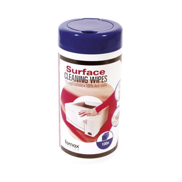 Számítástech.tisztító FORNAX műanyagtisztító kendő, 100db/doboz