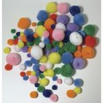 Pomponok felfűzhető, vegyes, 4 méret/szín, csom. 100 db