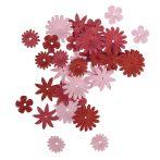 Papírvirágok, piros-/rózsaszín árnyalatok, 1,5-2,5 cm, 4-féle, tubus 36 db