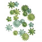 Papírvirágok, zöld,1,5-2,5 cm, 4-féle, tubus 36 db