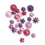 Papírvirágok, pink,1,5-2,5 cm, 4-féle, tubus 36 db