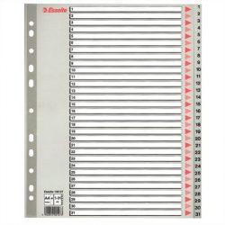 ESSELTE Regiszter, műanyag, A4 Maxi, 1-31, ESSELTE, szürke
