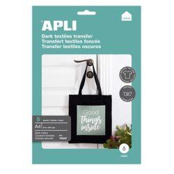 APLI Fólia, vasalható, A4, tintasugaras nyomtatóba, sötét pólóhoz, APLI