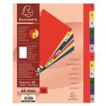 Exacompta Elválasztólap PP Exacompta 297x242 mm 12 részes színes maxi