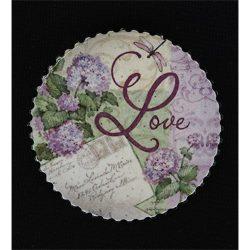 Noname Hűtőmágnes kör 7,2 cm Love/hortenzia