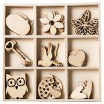 Junior Kreatív Junior fa dekorációs elemek, tavaszi, vegyes, 36 db