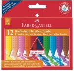 """FABER-CASTELL Zsírkréta, háromszögletű, FABER-CASTELL """"Jumbo Grip"""", 12 különböző szín"""