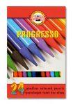 """KOH-I-NOOR Színes ceruza készlet, henger alakú, famentes, KOH-I-NOOR """"Progresso 8758/24"""", 24 különböző szín"""
