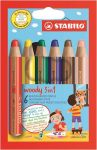 """STABILO Színes ceruza készlet, kerek, vastag, STABILO """"Woody 3 in 1"""", 6 különböző szín"""