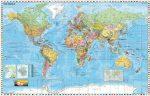 STIEFEL Falitérkép, 136x96 cm, fémléces, Föld országai, STIEFEL