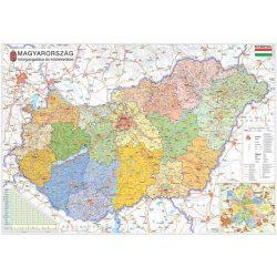 STIEFEL Falitérkép, 100x140 cm, fémléces, Magyarország járástérképe, STIEFEL
