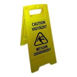 Csúszásveszély figyelmeztető tábla, magyar, sárga